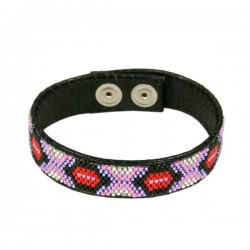 Armband Leder 'Red and Pink'