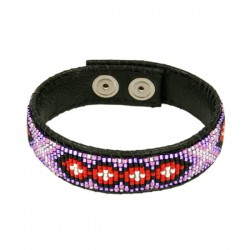 Armband Leder 'Red and Violet'
