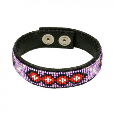 Armband Leder 'Red and Violet'